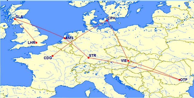 Flight Map for Europe Part of our RTW Trip