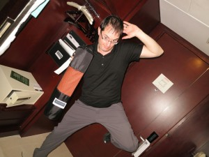 Phil making great use of the free Yoga mat!