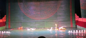 "Another look at the full ""stage"" of the Water Puppet Theater. Check out the dragon ""swimming"" around!"
